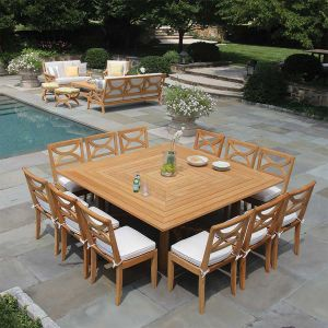 Fiori large 6 ft. square solid teak outdoor dining table for 10 to 12 guests