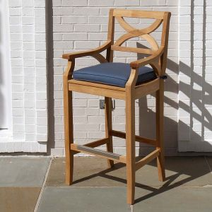 outdoor wood bar stools - Fiori teak bar armchair