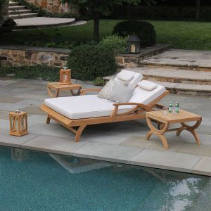 Teak pool lounge chairs - Fiori double chaise