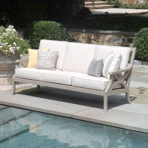 Fiori solid teak outdoor sofa with Basketweave Oyster cushions