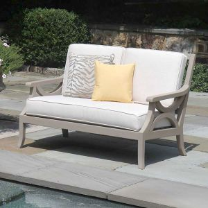 Fiori solid teak loveseat with Basketweave Oyster cushions.