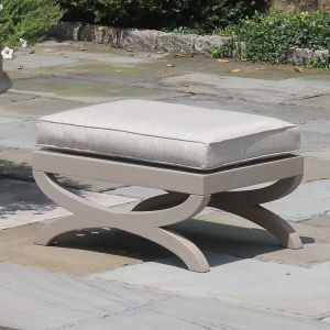 Fiori solid teak outdoor ottoman finished with Gray Sealer