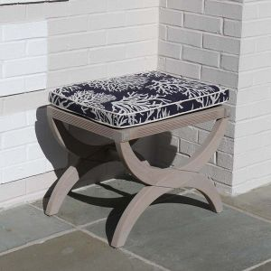 Fiori solid teak stool finished with Gray Sealer and topped with Gray cushions
