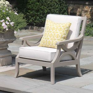 Fiori solid teak outdoor lounge chair finished with Gray Sealer