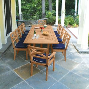 Grade A teak dining set - Fiori 10 ft rectangular table with Fiori chairs.