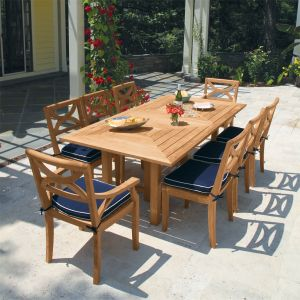 Teak outdoor dining set - Fiori 7 ft. rectangular table with Fiori chairs.