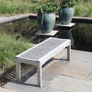 Foxhall 5 ft. 7 in. solid teak backless garden bench naturally weathered.