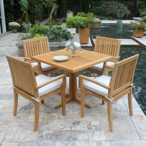 Foxhall square teak outdoor table with Foxhall stacking armchairs