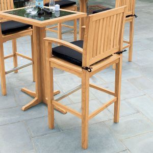 outdoor wooden bar stools - Foxhall teak bar armchair