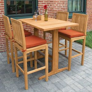 Foxhall rectangular table with teak top shown with Foxhall bar sidechairs.