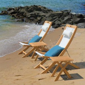 Harborside teak deck chairs in Cloud with folding table.