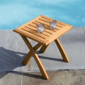 Harborside teak folding side table