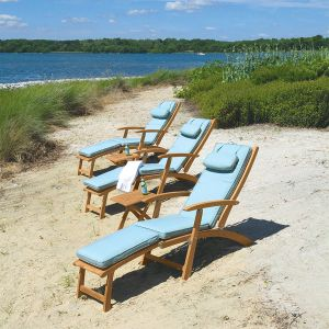 Harborside teak steamer chairs with cushions in Lagoon.