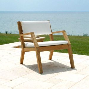 Hudson teak outdoor lounge chair with cushion in Cloud