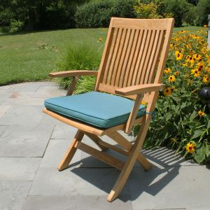Harborside teak folding chairs with arms