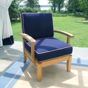 Calypso teak wood lounge chair in Navy with Oyster piping