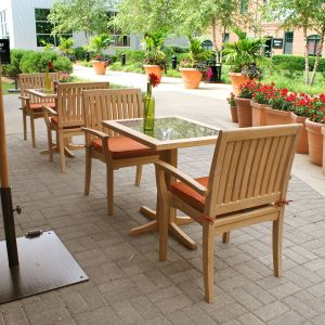 outdoor teak bistro set - Foxhall cafe table with granite table top