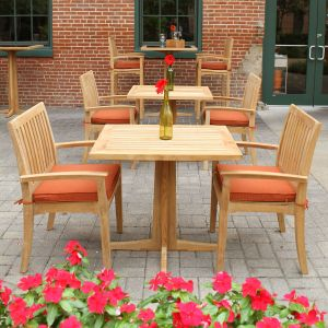 Teak bistro set - Foxhall cafe table with teak table top and Foxhall stacking armchairs.