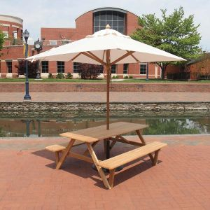 Larchmont teak picnic table with umbrella hole