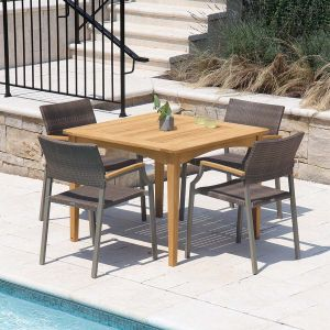 Melbourne 3 ft. 4 in. square teak patio table with Calypso stacking armchairs