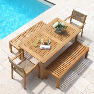 Melbourne 5 ft. 6 in. picnic set - teak picnic table with detached benches