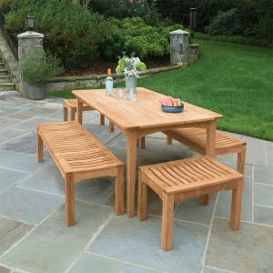 Melbourne 5 ft. 6 in. teak wood table with Foxhall backless benches