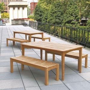 Melbourne 6 ft. 6 in. picnic set - teak picnic table with benches