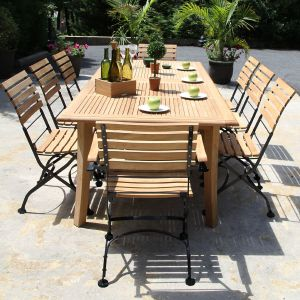 Palisade teak extendable outdoor dining table (closed) with Vineto folding chairs