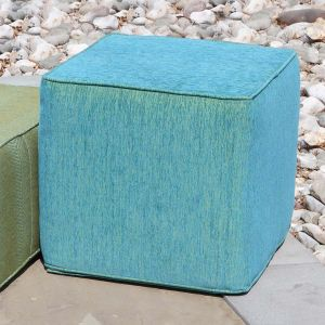 18 in. cube outdoor pouf ottoman in Chenille Electric