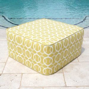 Outdoor pouf seating - outdoor square pouf in Citrus Twist