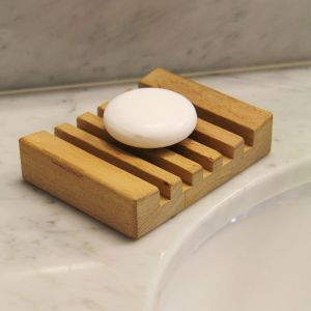 Saratoga teak soap dish.