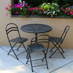 Savannah 31-1/2 in. bistro table with folding chairs.