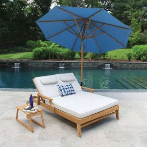 Seneca double chaise teak lounger.