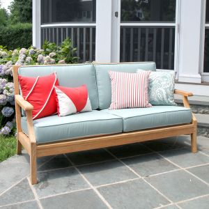 Seneca teak outdoor sofa in lagoon.
