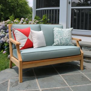 Seneca teak wood patio loveseat in Lagoon