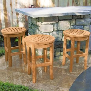 Seneca teak counter-height bar stools