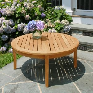 Seneca round teak wood coffee table