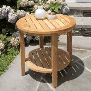 Seneca round teak side table