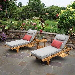 Shelbourne teak chaise lounge with Gray cushions