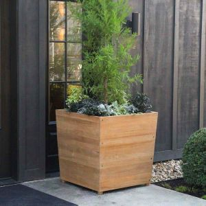 Studio 36 in. cube teak commercial planters for trees