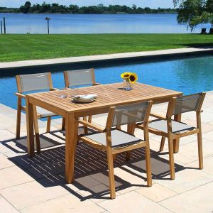 Summit teak outdoor dining table with umbrella hole