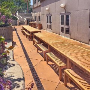 Summit 5 ft. picnic set - teak wood picnic table and backless benches