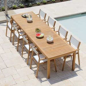 Teak dining set - Summit 10ft infinity dining table, shown with Summit stacking armchairs in Cloud.