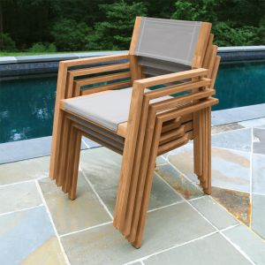 teak wood outdoor chair - Summit stacking armchair in Taupe