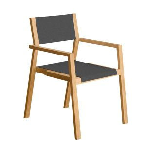 stackable outdoor dining chairs - Summit teak stacking chair in Charcoal