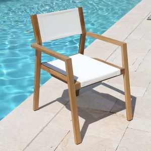 teak stacking chairs - Summit stacking armchair in Cloud