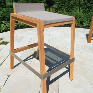 Outdoor bar stools - Teak Summit stacking barstool in Taupe