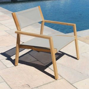 teak sling chair - Summit stacking lounge chair in Taupe