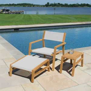 Summit stacking teak wood outdoor lounge chair in Cloud
