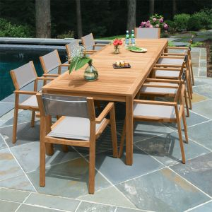 Teak dining set - Summit 10ft infinity dining table, shown with Summit stacking armchairs in Taupe.